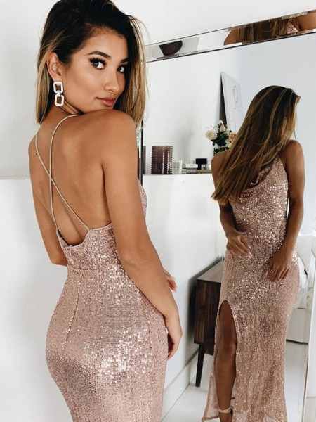 Trumpet/Mermaid Sleeveless Ruched Spaghetti Straps Sequins Ankle-Length Dresses