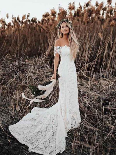 Trumpet/Mermaid Off-the-Shoulder Court Train Applique Short Sleeves Lace Wedding Dresses