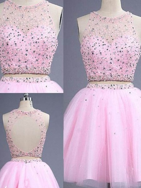 A-Line/Princess Scoop Short/Mini Tulle Two Piece Dress