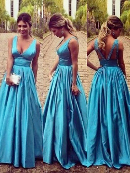 A-Line/Princess V-neck Floor-Length Elastic Woven Satin Sleeveless Ruched Dresses