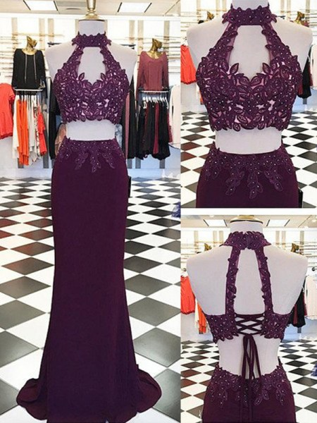 Sheath/Column Spandex Halter Sleeveless Floor-Length Applique Dresses