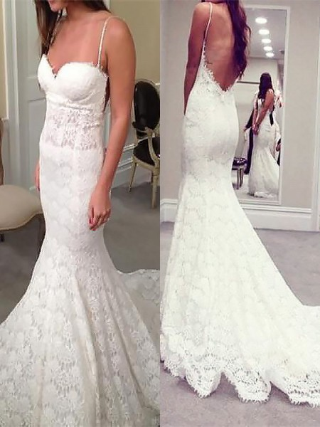 Trumpet/Mermaid Lace Spaghetti Straps Sleeveless Court Train Wedding Dresses