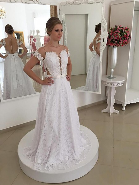 A-Line/Princess Lace Scoop Short Sleeves Sweep/Brush Train Wedding Dresses