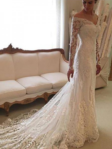 Sheath/Column Lace Off-the-Shoulder Long Sleeves Court Train Wedding Dresses