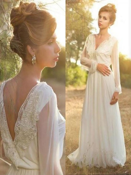 A-Line/Princess Chiffon V-neck Long Sleeves Sweep/Brush Train Lace Wedding Dresses
