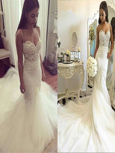 Trumpet/Mermaid Tulle Spaghetti Straps Sleeveless Chapel Train Wedding Dresses