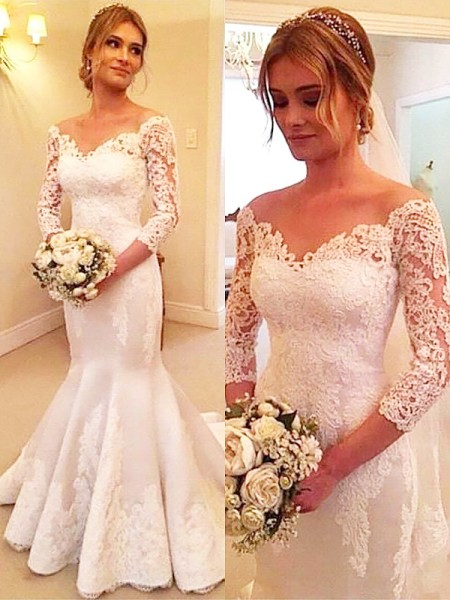 Trumpet/Mermaid Satin Off-the-Shoulder 3/4 Sleeves Court Train Wedding Dresses