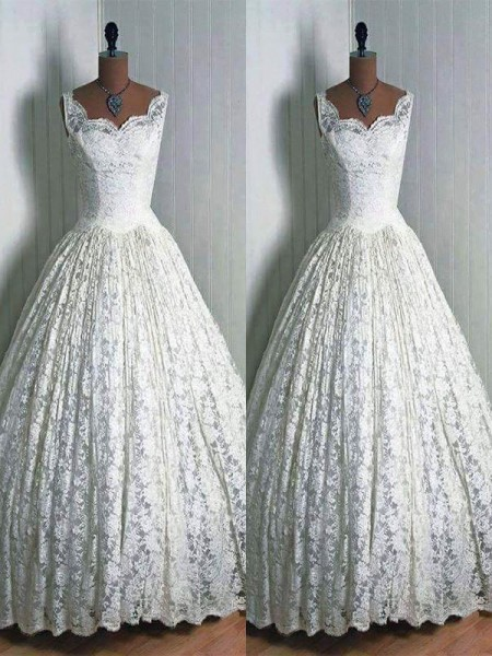 Ball Gown Lace Sweetheart Sleeveless Floor-Length Wedding Dresses