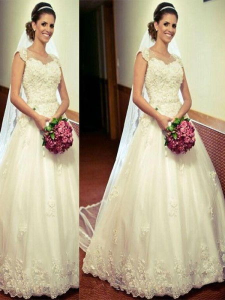 Ball Gown Tulle Sweetheart Sleeveless Floor-Length Wedding Dresses