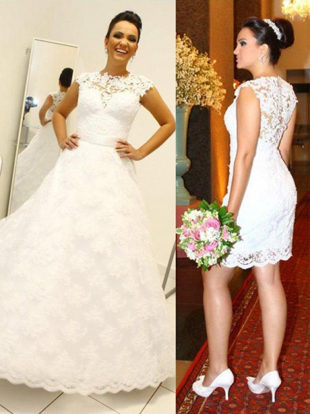 Ball Gown Lace Scoop Sleeveless Floor-Length Wedding Dresses