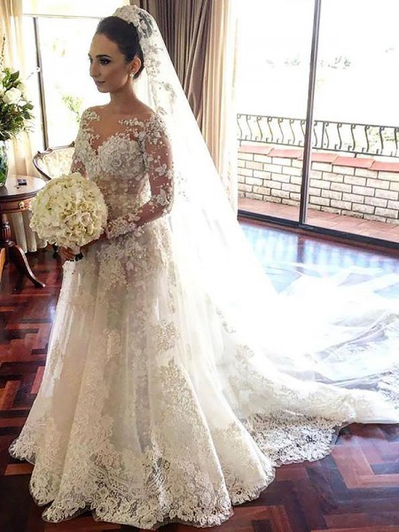 A-Line/Princess Tulle Bateau Long Sleeves Chapel Train Lace Wedding Dresses