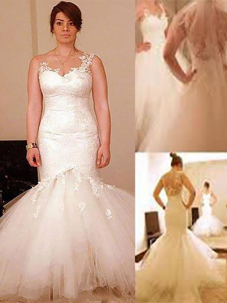 Trumpet/Mermaid Organza Straps Sleeveless Floor-Length Wedding Dresses