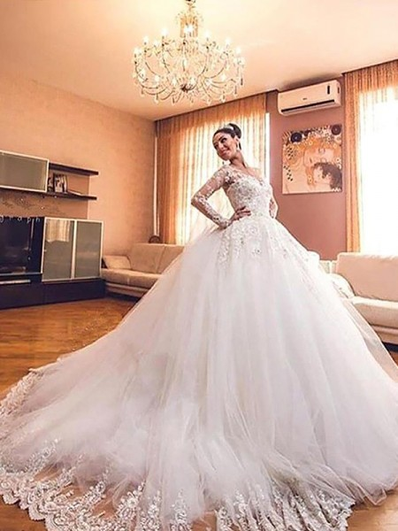 Ball Gown Tulle V-neck Long Sleeves Court Train Wedding Dresses