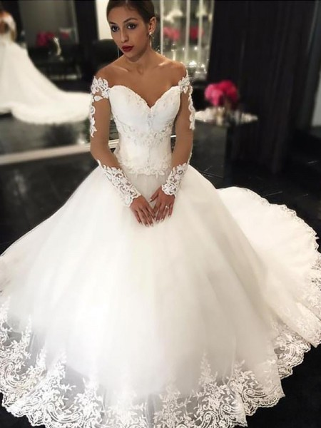 Ball Gown Tulle Off-the-Shoulder Long Sleeves Court Train Applique Wedding Dresses