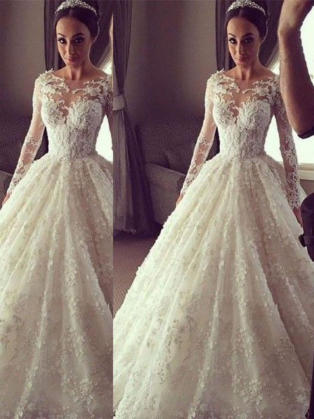 Ball Gown Lace Scoop Long Sleeves Court Train Wedding Dresses