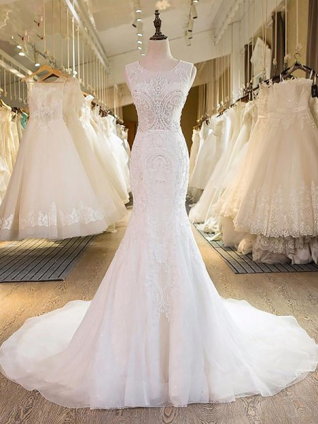 Trumpet/Mermaid Tulle Scoop Sleeveless Sweep/Brush Train Wedding Dresses