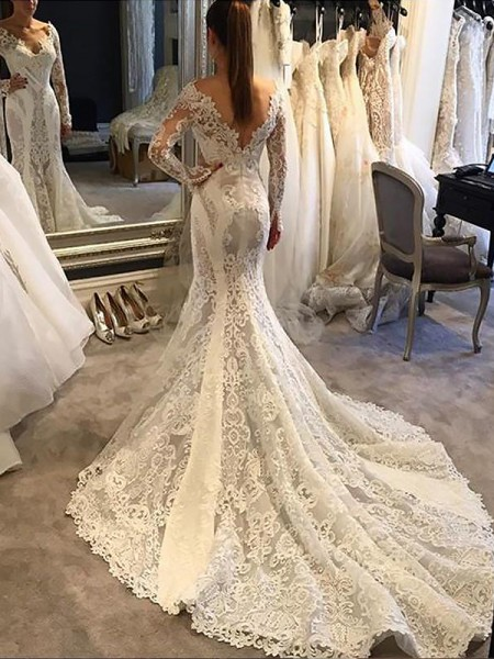 Trumpet/Mermaid Lace V-neck Long Sleeves Court Train Wedding Dresses
