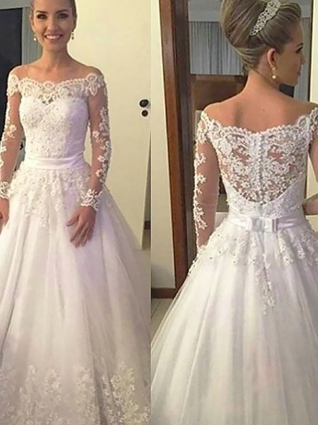 Ball Gown Tulle Off-the-Shoulder Long Sleeves Court Train Wedding Dresses