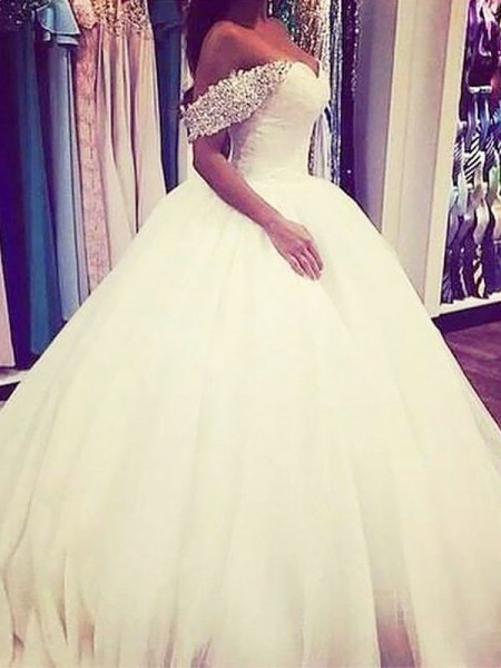 Ball Gown Tulle Off-the-Shoulder Sleeveless Sweep/Brush Train Beading Wedding Dresses
