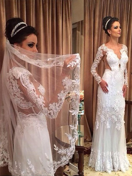 Sheath/Column Tulle V-neck Long Sleeves Floor-Length Wedding Dresses
