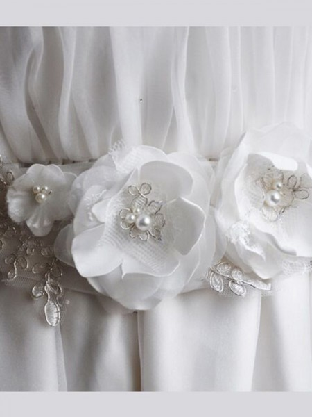 Pure Organza Sashes With Imitation Pearls/Hand-Made Flower