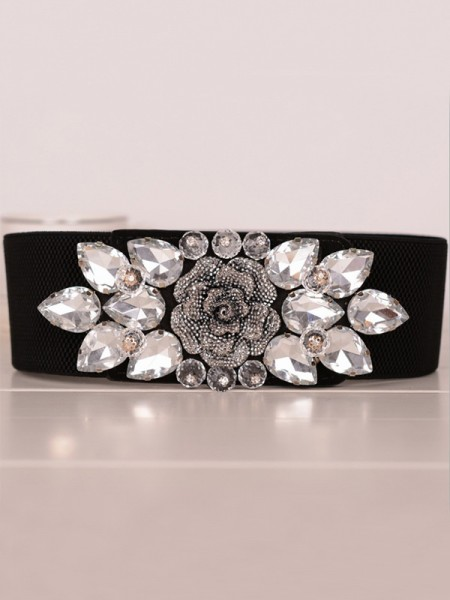 Women'sCharming Elastic Rhinestones Sashes With Flower