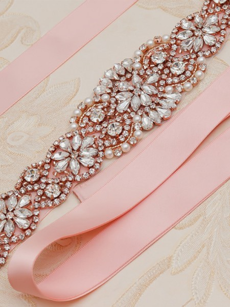 Women's Exquisite Satin Sashes With Rhinestones/Imitation Pearls