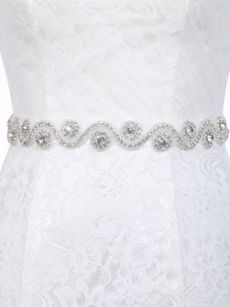Women's Graceful Polyester Fiber Sashes With Rhinestones