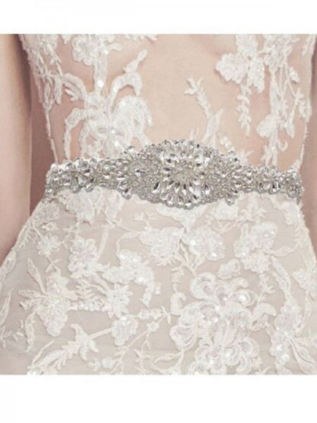 Rhinestone Crystal Wedding Bridal Dress Sash Belt Satin Ribbon