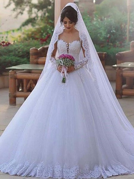 Ball Gown Lace Tulle Sweep/Brush Train Long Sleeves Sweetheart Wedding Dresses