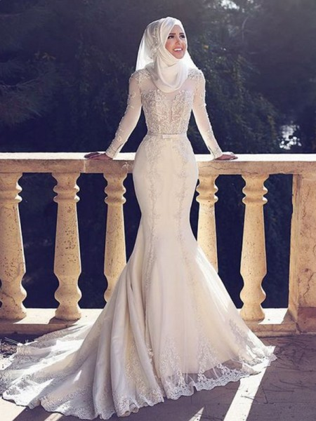 Trumpet/Mermaid Lace Tulle Sweep/Brush Train Long Sleeves Jewel Muslim Wedding Dresses