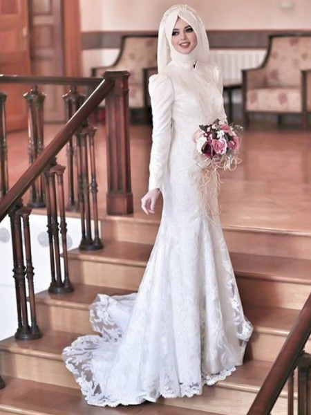 Trumpet/Mermaid Lace Tulle Sweep/Brush Train Long Sleeves High Neck Muslim Wedding Dresses