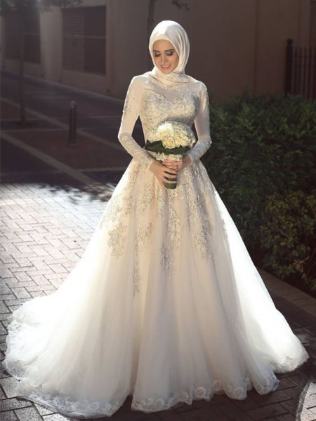 Ball Gown Applique Tulle Sweep/Brush Train Long Sleeves Jewel Muslim Wedding Dresses