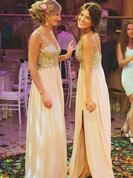 A-Line/Princess Sequin Chiffon Floor-Length Sleeveless V-neck Bridesmaid Dresses