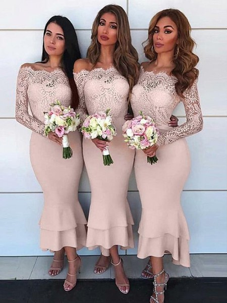 Sheath/Column Lace Chiffon Ankle-Length Long Sleeves Off-the-Shoulder Bridesmaid Dresses