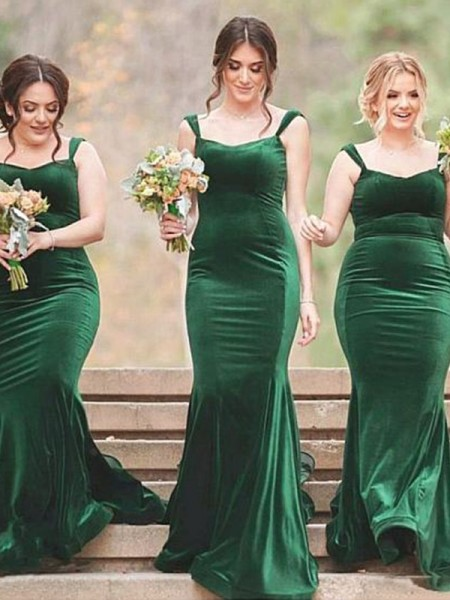 Sheath/Column Ruffles Velvet Sweep/Brush Train Sleeveless SpaghettiStraps Bridesmaid Dresses